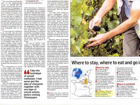 Accueil Presse GB (EIRE) Gillian IVORY The Irish TImes Organic Champagne
